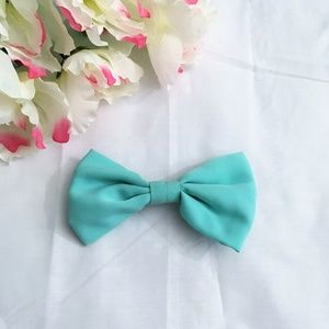 Aqua Fabric Bow Barrette